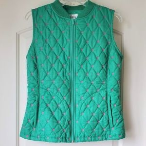 Lilly Pulitzer Green Quilted Palm Trees Vest S